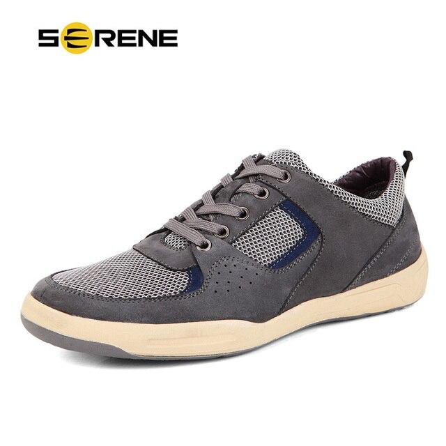 SERENE Men's Split Leather Lace-up Shoes Men Soft-bottom Flats Zapatos Hombre Breathable Air Mesh Men Casual Shoes Plus-size9171