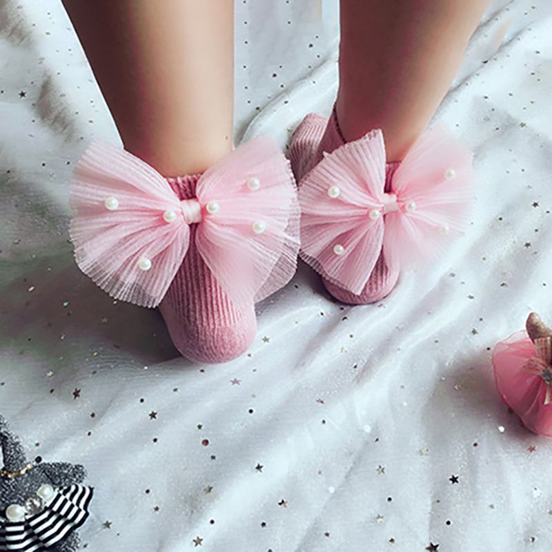 New Baby Girls Socks With Bows Toddlers Infants Cotton Ankle Socks Beading Baby Girls Princess Sock Cute Children Summer Wear