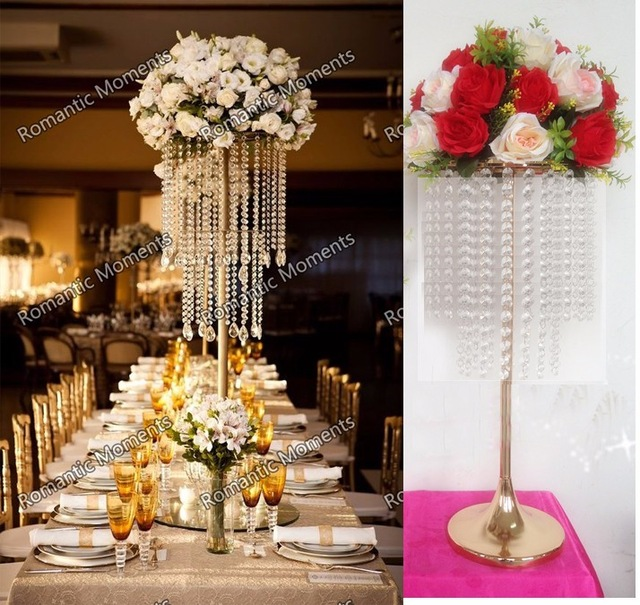 62cm Tall Wedding Crystal Table Centerpiece Gold Flower Stand Chandelier Decoration 10pcs