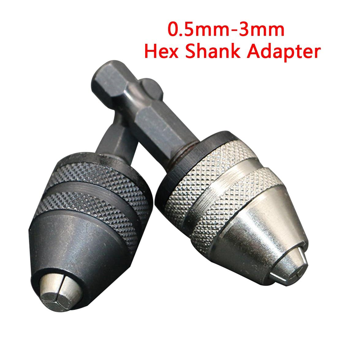 Keyless 1/4 Inch 0.5mm-3mm Hex Shank Adapter Converter Drill Bit Chuck Quick Change Universal Chuck Alloy