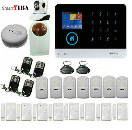 SmartYIBA WIFI  APP Control 3G Burglar Alarm Security System RFID Wireless Alarmes Motion Sensor Strobe Siren Smoke Alarm Kits yobang security gsm wifi auto dial home alarm system rfid tags intelligent alarma kits glass break sensor strobe siren sensor
