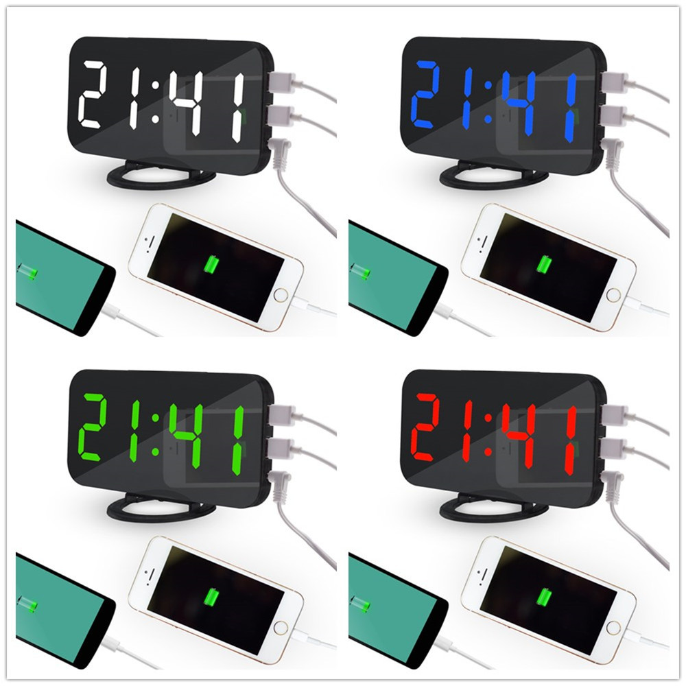 LED Digital Alarm Clock With USB Port For Phone Charger Touch-Activited Snooze Automatically Adjust the Brightness Hot Sale#35