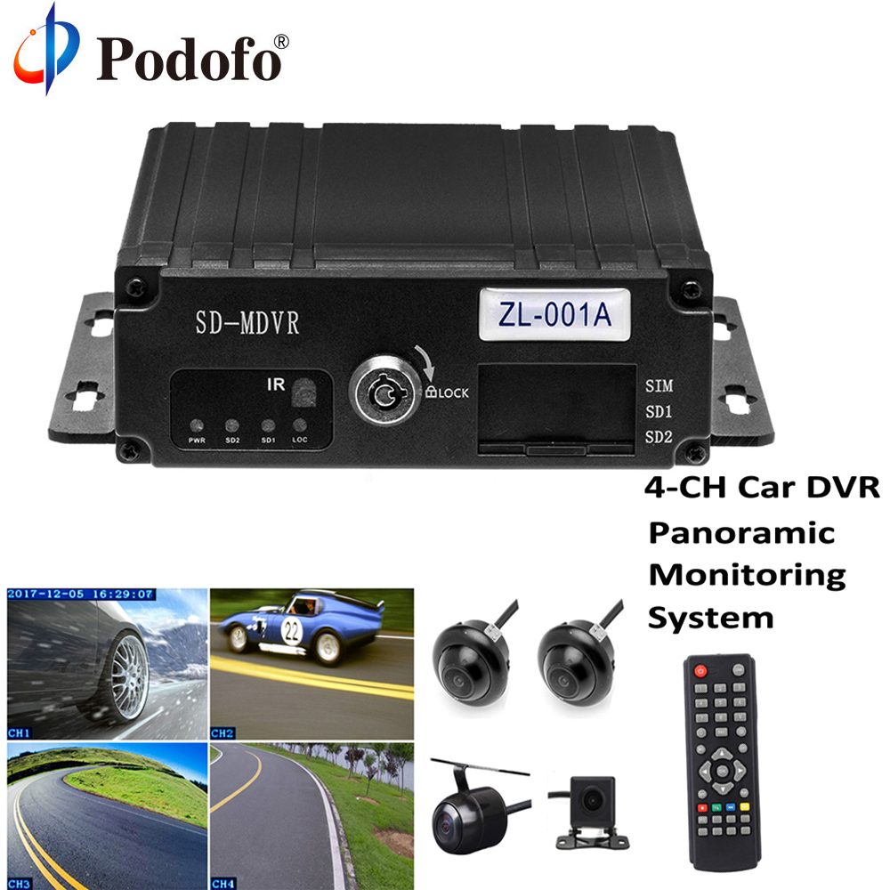 Podofo 4-CH 1080P Full HD Car Camera DVR 360 Surround View With Bird View Panorama Rear View Cameras Monitoring System G-Sensor bird view system hd 3d 360 degree surround view system 4 car camera multi angle adjustable metal car camera 1080p dvr g sensor
