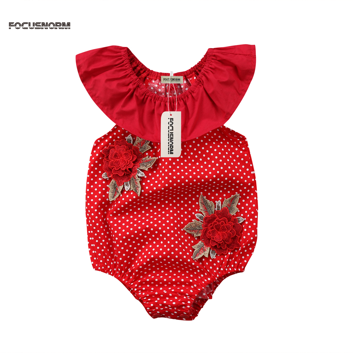 Newborn Baby Girls Floral Princess Bodysuits 3D Rose Print Dots Print Jumpsuit Outfits Clothes Sleeveless Summer Bodysuit 2018