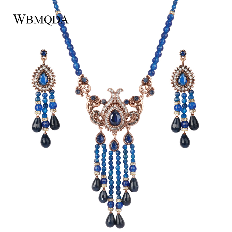 Wbmqda 2 Pcs/lot Blue Natural Stone Necklace And Earrings For Women Antique Gold Crystal Ethnic Vintage Wedding Jewelry Sets