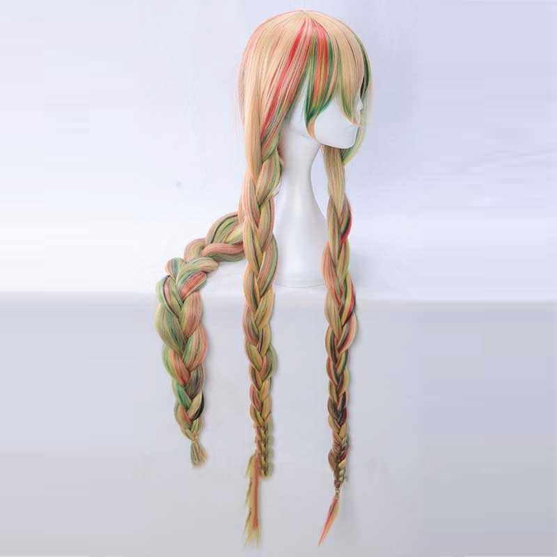 Houseki no Kuni Sphene Colore Misto Trecce di Capelli Sintetici Parrucca di Cosplay di Halloween Paese di Gioielli Gioco di Ruolo 110 centimetri