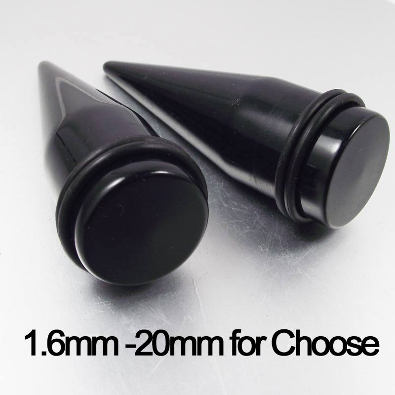 1.6mm 12mm 14mm 16mm big size Acrylic Ear Piercing Tapers Ear Expander Black Flesh Tunnel Free Shipping image