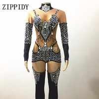 Black Rhinestones Pattern Nude Jumpsuit Dance Wear One Piece Bodysuit Women's Party Female Singer Crystals Costume Show Outfit
