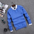 Primavera y Otoño Hombres Suéter de la marca O Cuello Sólido Ocasional suéteres de los hombres de algodón Hombres Suéter cardigan de Manga Larga hombres de la marca ropa