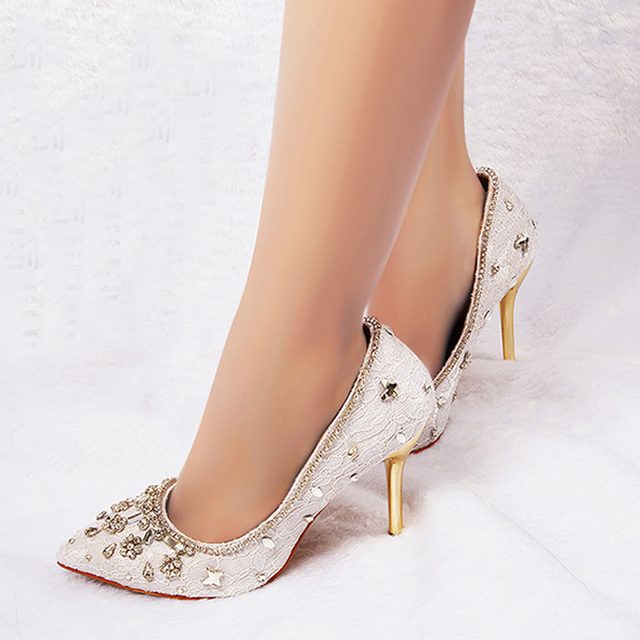 3260d548a95 Elegant White Lace Rhinestone Prom Party High Heels Stilettos Wedding Dress Shoes  Pointed Toe Women s Bride Shoes EUR 34-41