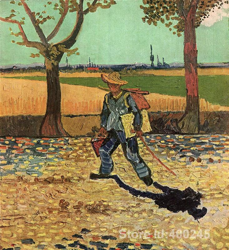 Famous Oil painting Selfportrait on the Road to Tarascon Vincent Van Gogh reproductions Canvas Art High quality Hand paintedFamous Oil painting Selfportrait on the Road to Tarascon Vincent Van Gogh reproductions Canvas Art High quality Hand painted