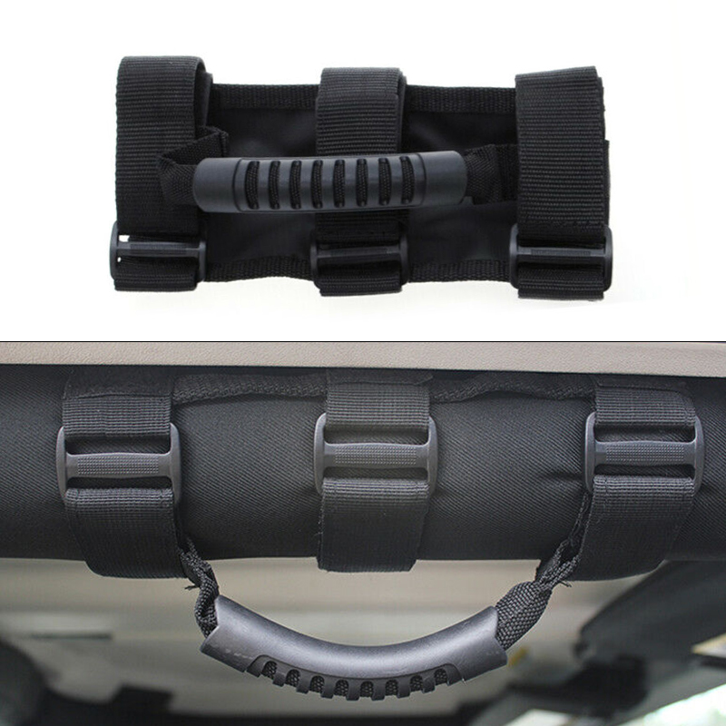 1pc สีดำรถบรรทุกภายในรถหลังคา Handle Roll Hand Grip สำหรับ Jeep Wrangler CJ YJ TJ JK Bronco FJ หลังคาจับ 2-3