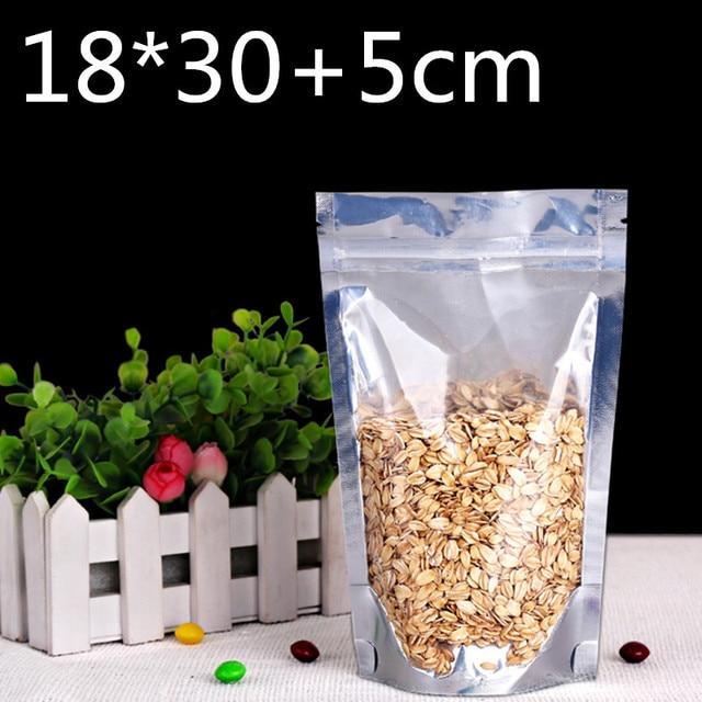100 pcs 18x30 + 5 cm Stand up Pacote Da Folha de Alumínio Mylar Saco De Embalagem De Plástico Transparente de Vedação de Auto ZIpper Saco de Embalagem Zip Lock