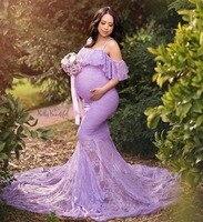Encaje vestido de mujer de lujo maternidad fotografía Props fuera del hombro vestidos de embarazo volantes vestido de maternidad ropa para sesión de fotos
