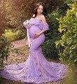 Lace Fancy Vrouwen Jurk Moederschap Fotografie Props Off Schouder Zwangerschap Jurken Ruches Moederschap Gown Kleding Voor Fotoshoot