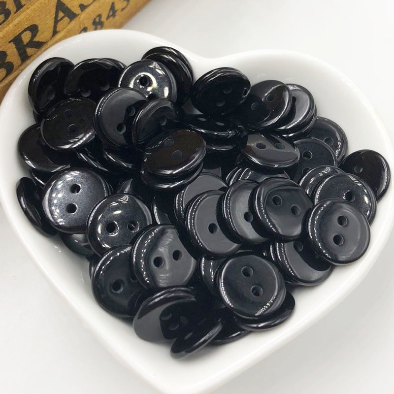 10/50/100 Pcs Black New 15mm 2 Holes Plastic Button/Sewing Lots Mix-Free Shipping PT271