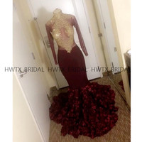 Gold Lace Prom Dresses Long Sleeves High Neck Sexy Illusion Bodice Dark Red 3D Flowers Mermaid Long Party Formal Prom Dress 2019