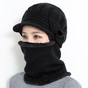 Image 2 - 2018 נשי צוואר חם סתיו חורף בימס כובעי מסכת נשים חורף כובע סרוג כובעי צעיף סט כפת סקי כובעי אישה