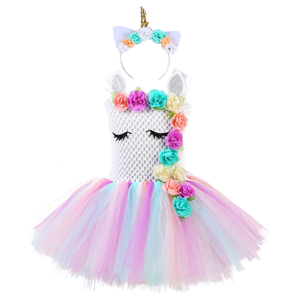 Fluffy Bustle Girl Unicorn Tutu Dress with Headband Baby Kids Flowers Unicorn Theme Birthday Party Outfit Pony Halloween Costume 1
