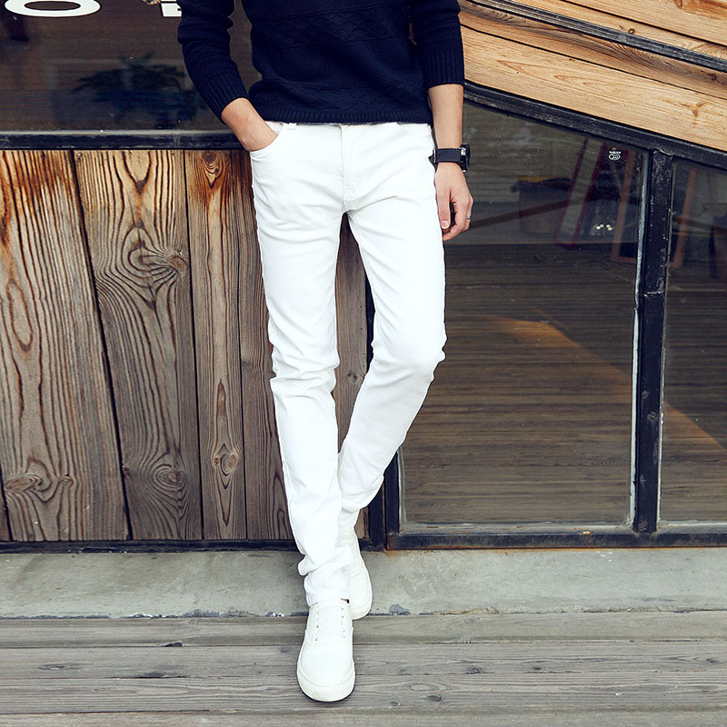 Trousers Jeans Pencil-Pants Stretch Youth Business Skinny Men White Male Summer Casual