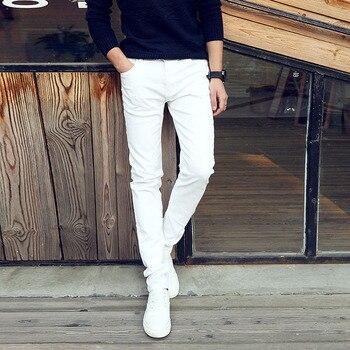 90b6e545e6 2019 de moda casuales de primavera y verano delgado de Jóvenes Empresarios blanco  Pantalones Hombre adolescentes pantalones vaqueros de los hombres ...