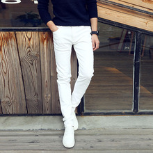 Купить с кэшбэком Fashion 2017 Summer Casual Thin Youth business white Stretch jeans pants male teenagers trousers Skinny jeans men leggings