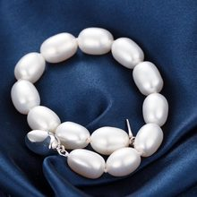 AAAA 8-9mm Natural Frewater Water Drop Pearl Bracelets Women Bracelet Fine Jewelry Classic Chain Charm Bracelet 2017 New Pearl(China)