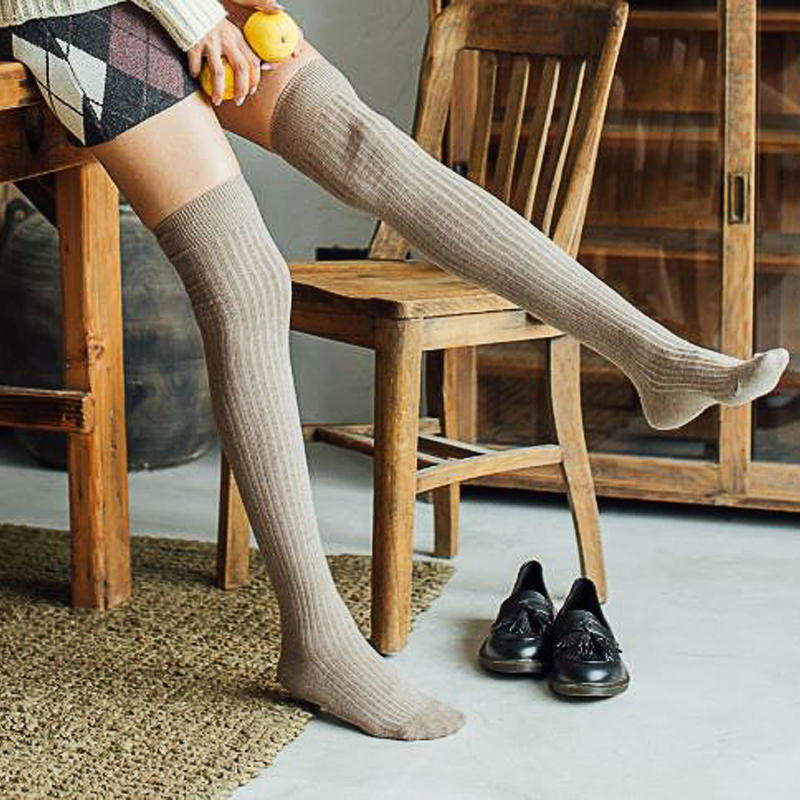VVQI Over Knee Socks White Kawaii Thigh High Socks Japanese Cotton Long Women Stockings Cute Students Pure Color Sweet Harajuku