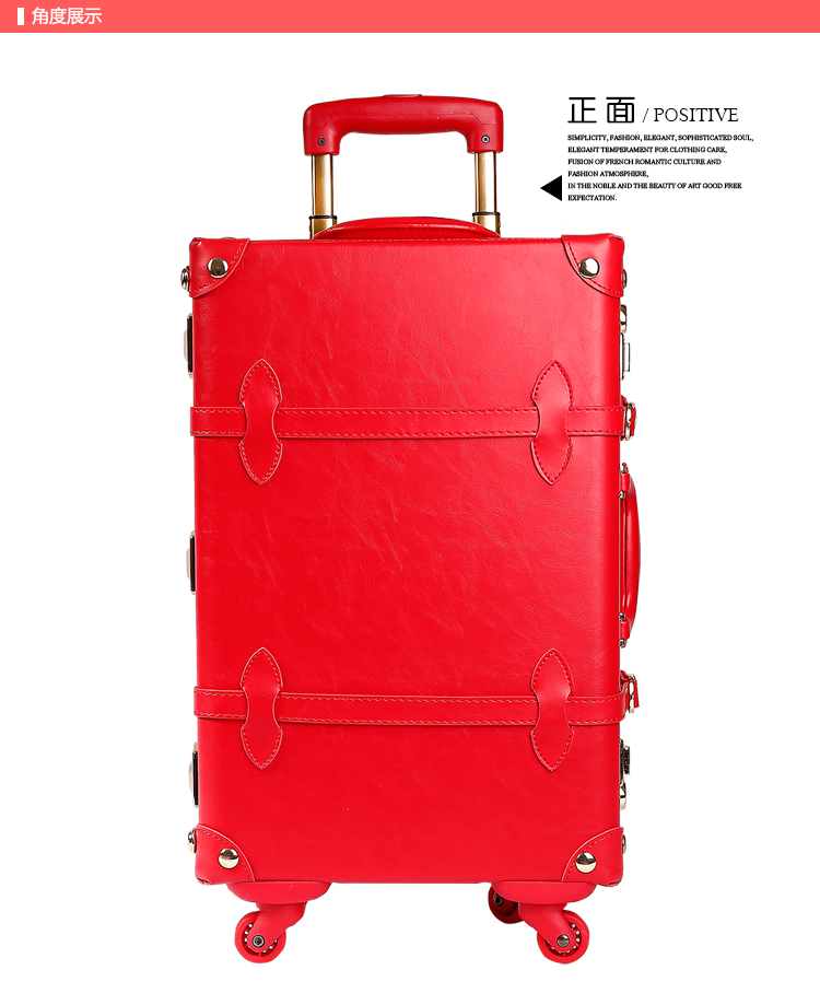 14 20 24 full red leather bride married luggage sets,golden hardware high quality vintag ...