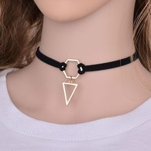 2019 New Fashion Black Velvet Leather Choker Necklace Vintage Gold Color Triangle Pendant Charm For Women Girls Party Gifts(China)