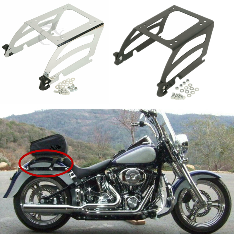 Gloss Black Detachables and Adjustable Backrest Sissy Bar with Luggage Rack for Harley Davidson Touring Models 1997-2008