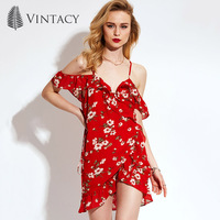 Vintacy Women Summer Red Dress Chiffon Beach V Neck Casual Women Dress Ruffle Sleeve Spring Print