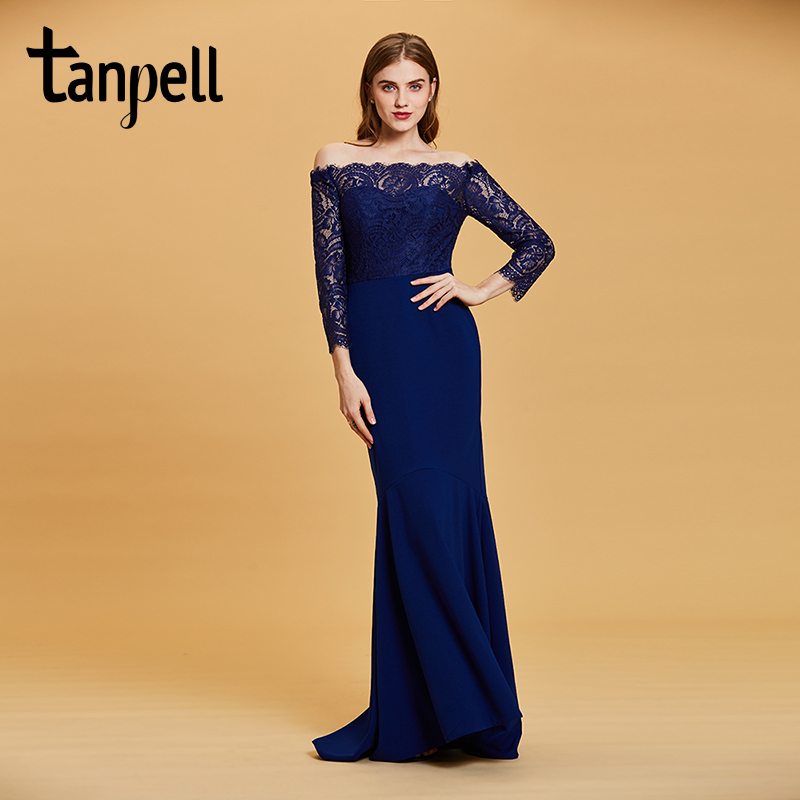 Tanpell boat neck evening dress dark royal blue lace floor length gown women wedding party mermaid