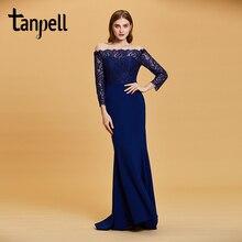 Tanpell boat neck evening dress dark royal blue lace floor length gown women wedding party mermaid formal long dresses