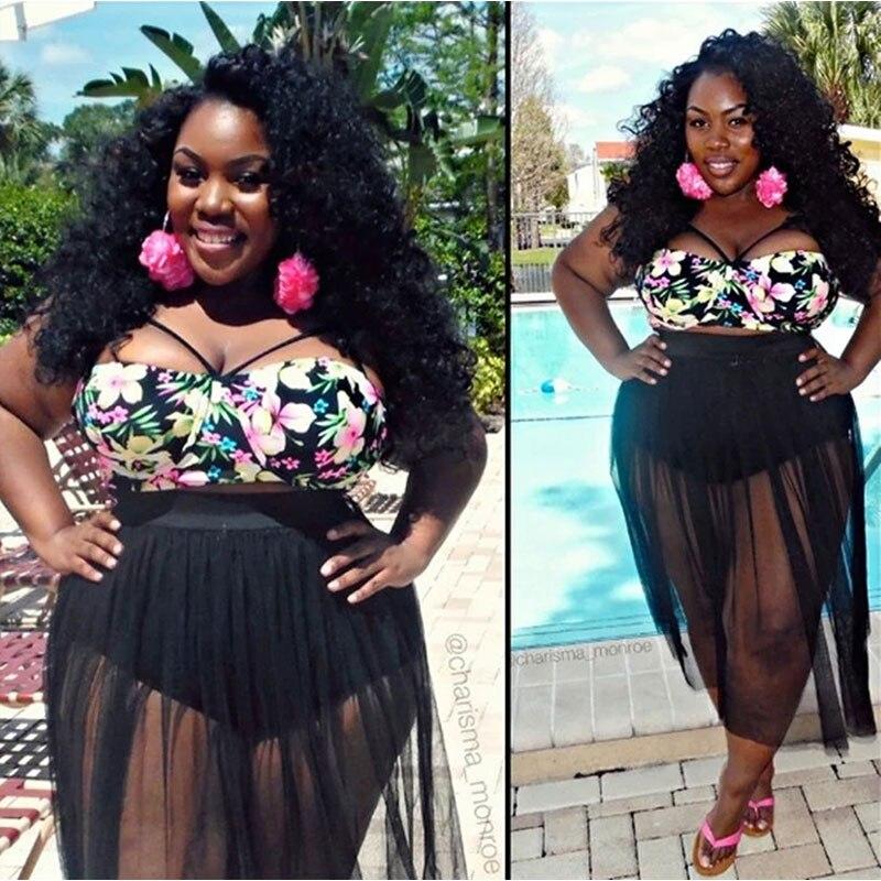 c21e8f261f4 S-4XL Sexy Large Size Woman Bikini Push Up Swimwear Summer Beach Dress  Print Bathing Suit High Waist Swimsuit Plus Size Bikini