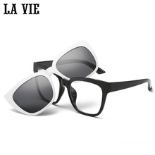 LA VIE Magnet clip on Removable Polarized Sunglasses for Men Eye Glasses Frame Cat Eye for Women Gafas de sol LV1528
