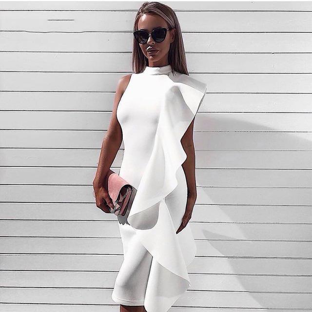 New Summer Dress Women Knee Length Sexy Sleeveless Ruffles Bodycon Vestidos Elegant White Celebrity Party Dresses