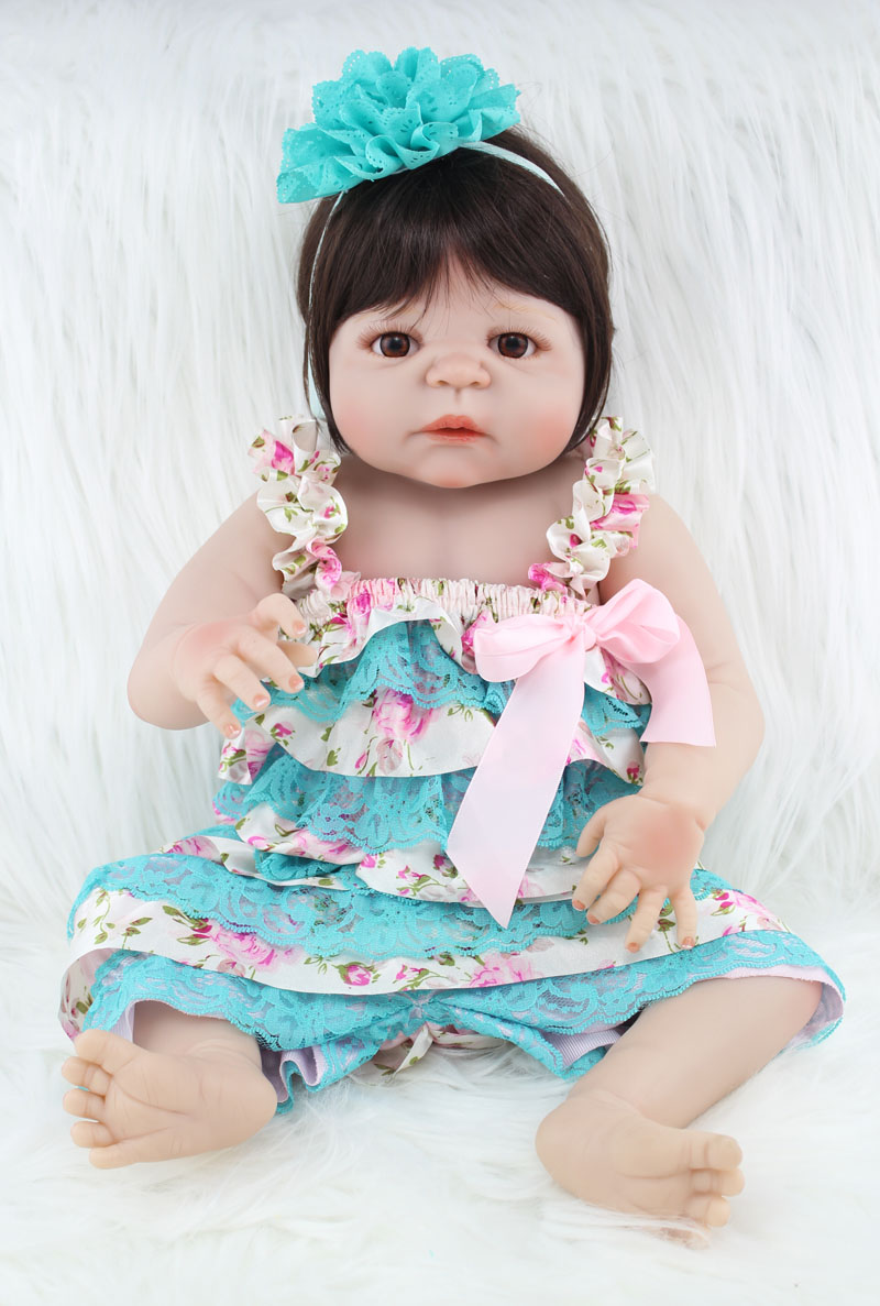 Full body silicone baby for sale 2015 - 55cm Full Body Silicone Reborn Baby Girl Doll Toys Lifelike Newborn Princess Babies Doll For Sale