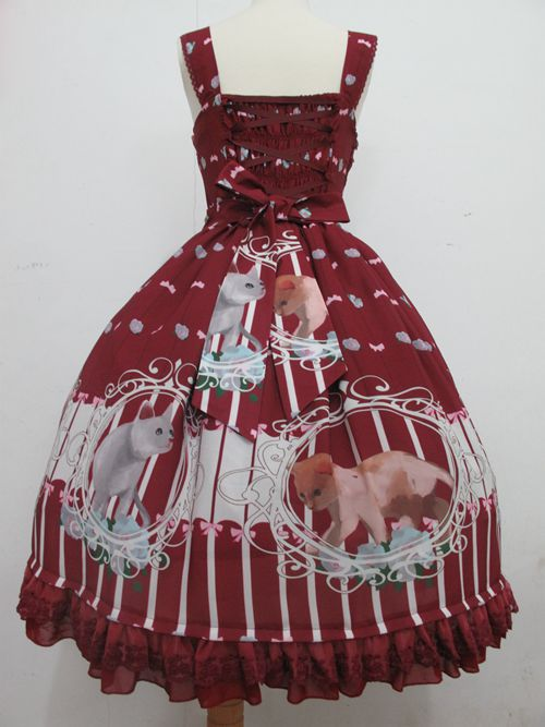 Nieuwe mode lolita vrouwen meisjes jurk kat gedrukt vintage jurken chiffon wijn rood/blauw/roze retro cosplay kostuum prinses jurk - 3
