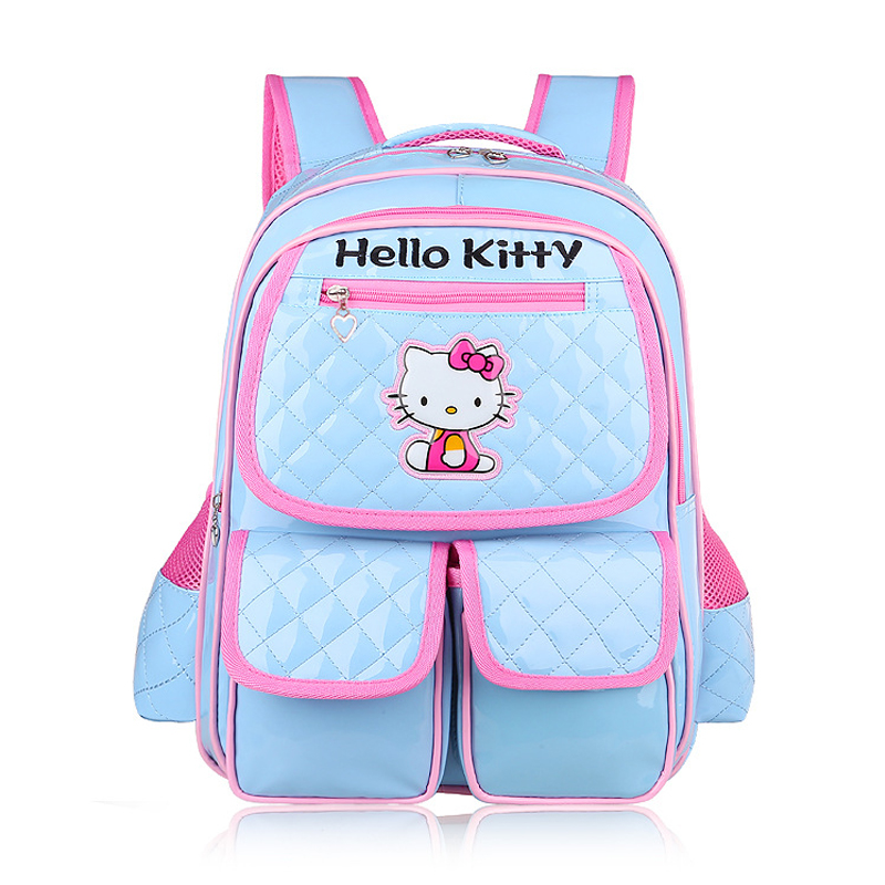 f10176236b Cartoon Hello Kitty Bag Blue Primary Elementary School Backpacks Kids  Schoolbag Rucksacks Children School Bags for Girls