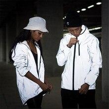 Reflective harajuku windbreaker hooded hip-hop shiny zipper Jacket SF