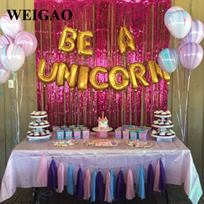 Weigao 10pcs 16inch Gold Sliver Be A Unicorn Aluminium Foil