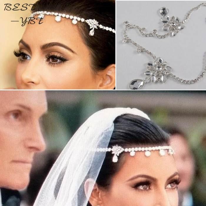 Czech Sparkly Crystal Women Forehead Headband Head Chain Headpiece Rhinestone Teardrop Tiara Vines Bridal Wedding Hair Jewelry