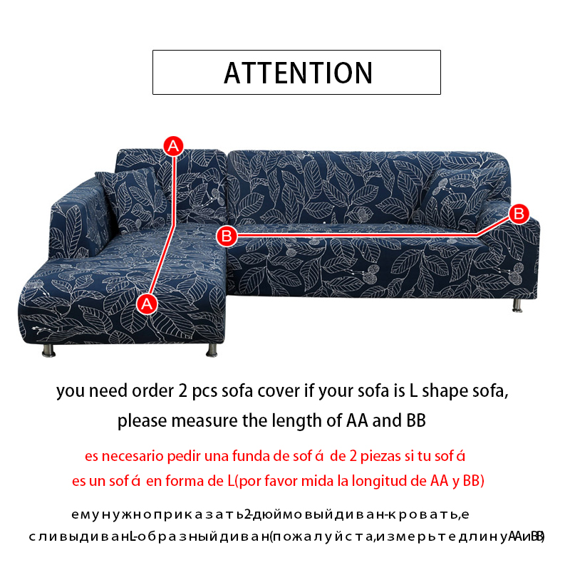 L shaped Sofa Cover Elastic Blue Sofa covers for living room Copridivano Couch cover Sofa slipcovers for armchairs 1 4 Seater in Sofa Cover from Home Garden