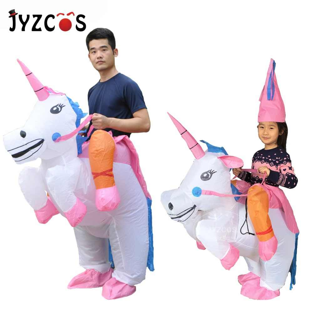 0e861ca8f4d1 JYZCOS Inflatable Unicorn Costumes for Kids Adult Fancy Dress Ride Horse  Suit Halloween Purim Carnival Party
