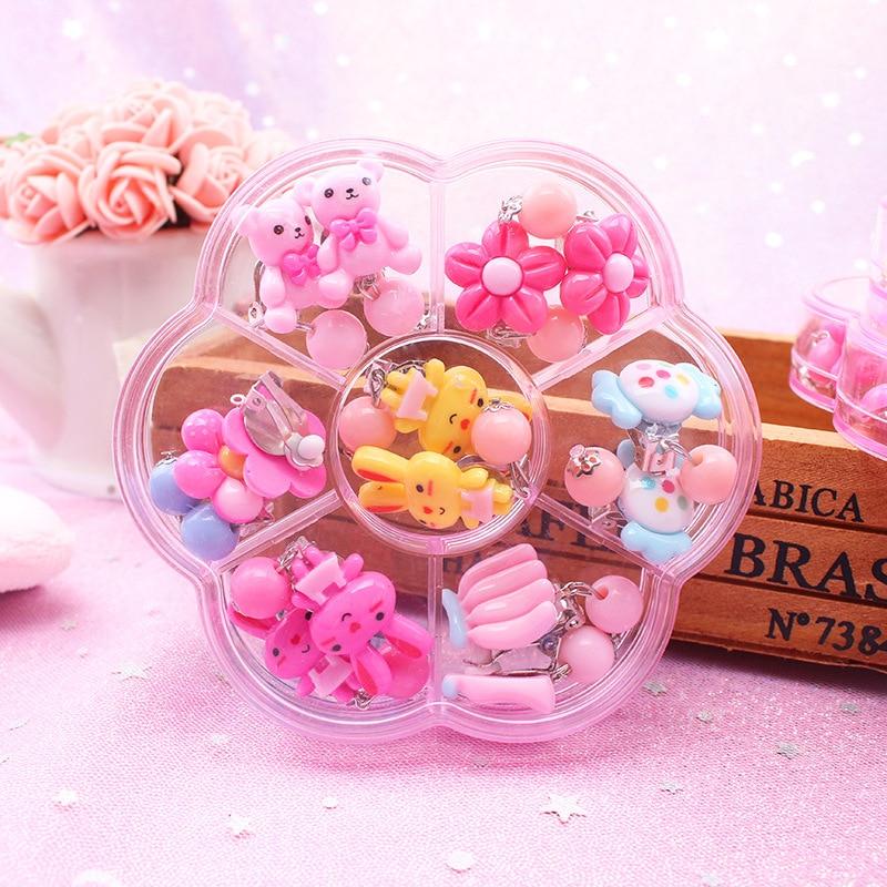 Boucles doreilles à clip pour filles, mignons, bijoux pour filles, sans piercing, 7 paires/ensemble