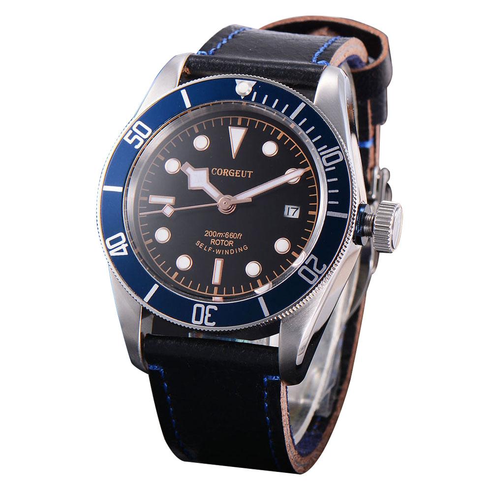 41mm Corgeut Black dial blue bezel Sapphire Glass Miyota movement mechanical Automatic Men Watch polisehd 41mm corgeut black dial sapphire glass miyota automatic mens watch c102