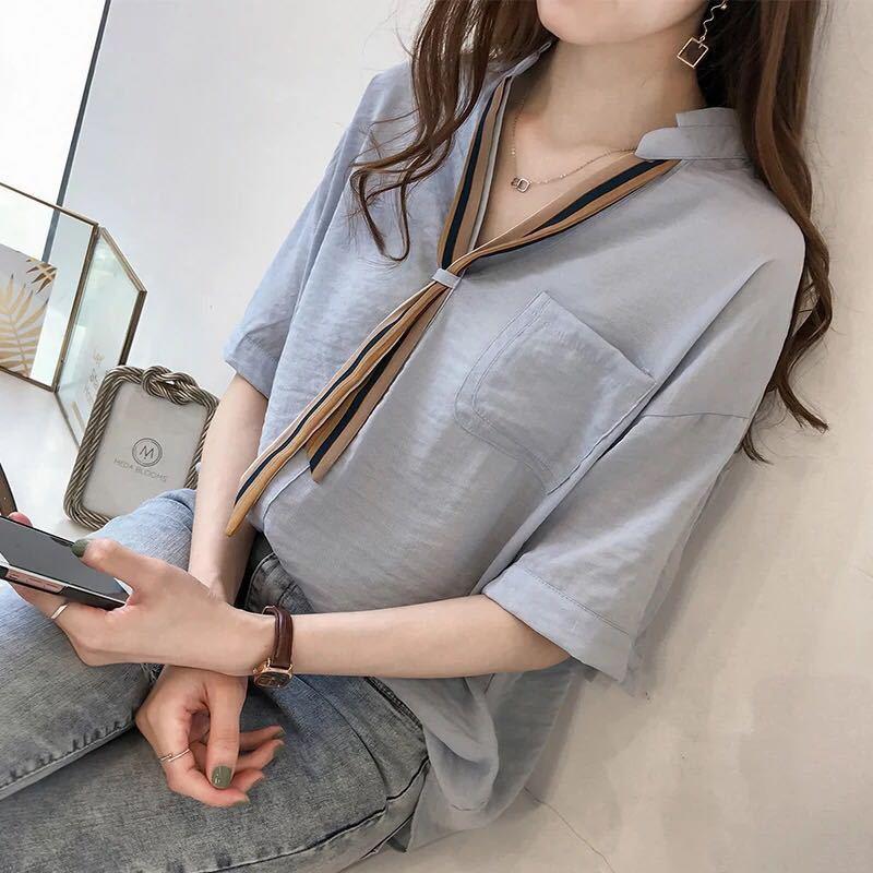 2018 Summer New Pattern Fashion Stripe Necktie Shirt Woman Short Half Sleeve Women Plus Size Blouses