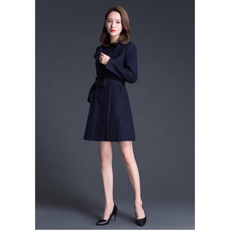 Longues Mode De Ll237 Blue Section Survêtement Femmes Solide Bouton Simple 2018 Longue Couleur Nouveau Manches Laine Mi Couverts Automne Manteau tPwqpxZUt