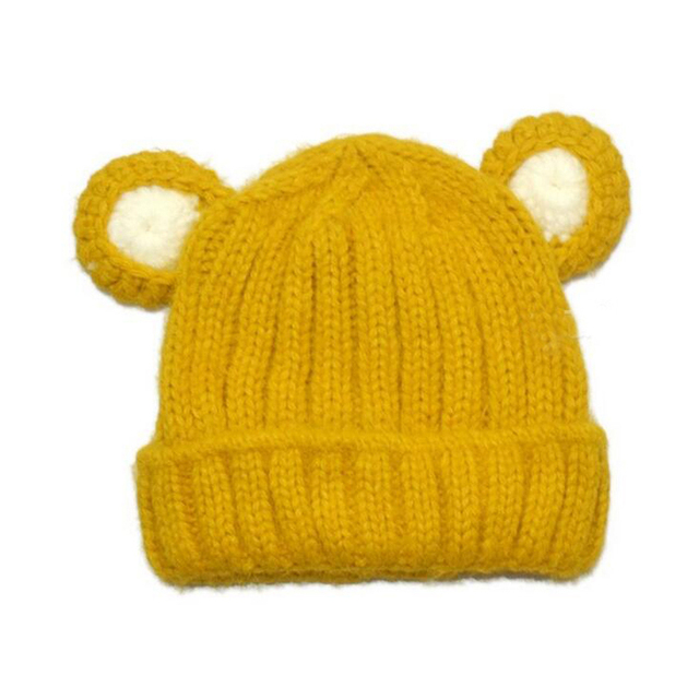 300a267de7d Child Unisex Baby Beanies Cat Ear Ribbed Knit Cuffed Hats Kids Solid Caolor  Winter Warm Caps Skullcap 1-4T MZ3985